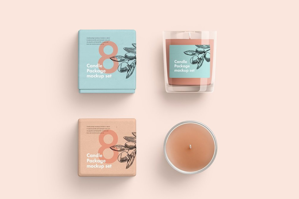 Candle Glass and Box Packaging Mockup Free PSD