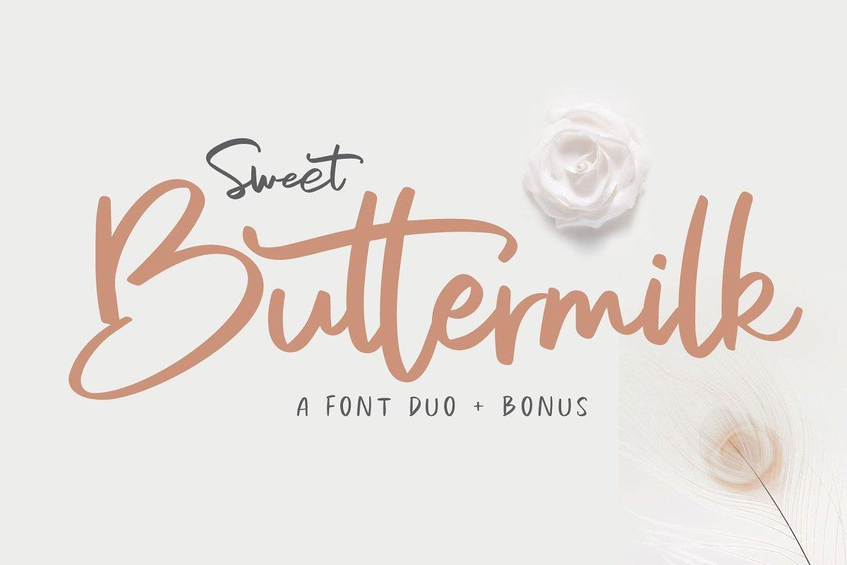 Sweet Buttermilk Handwritten Script Font