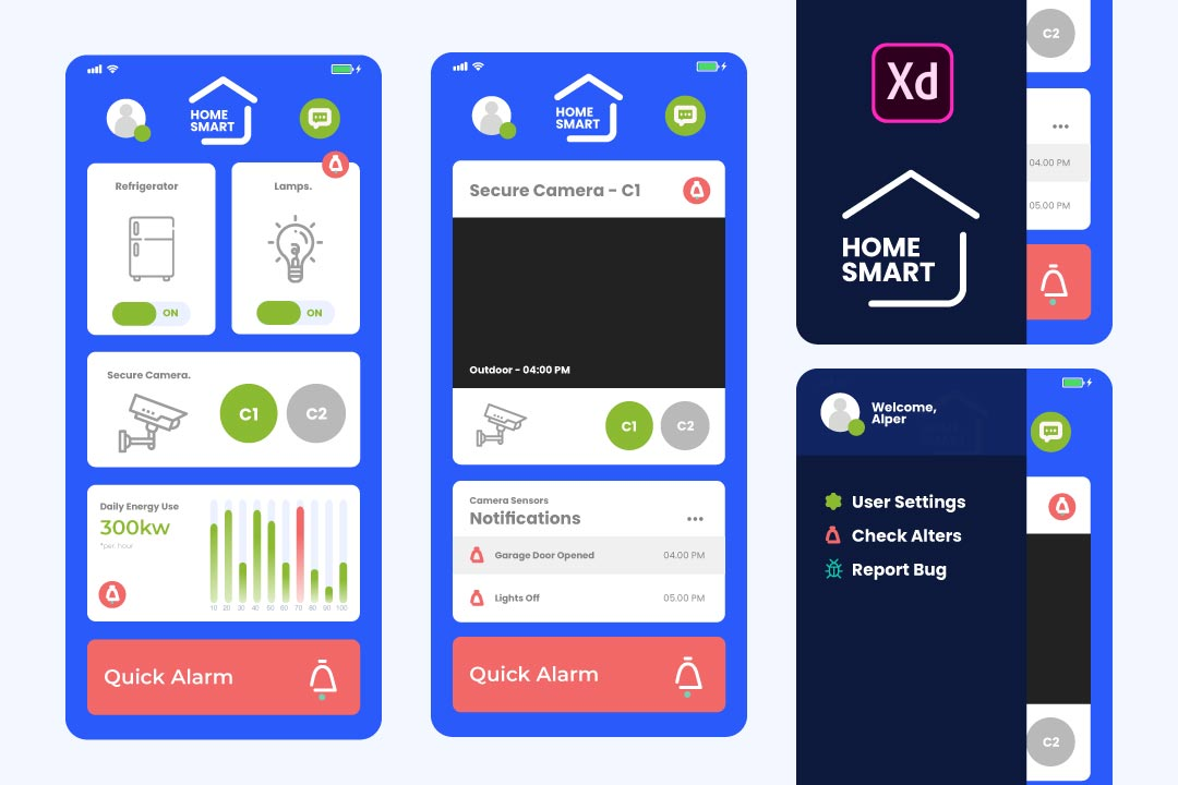 Smart Home UI Template Free XD